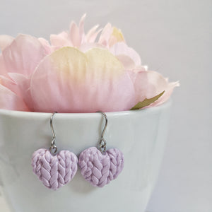 Lilac Knitted Heart Drop Earrings