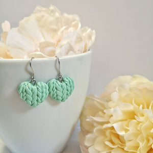 Mint Knitted Heart Drop Earrings