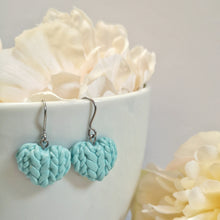 Load image into Gallery viewer, Forget Me Not Knitted Heart Drop Earrings