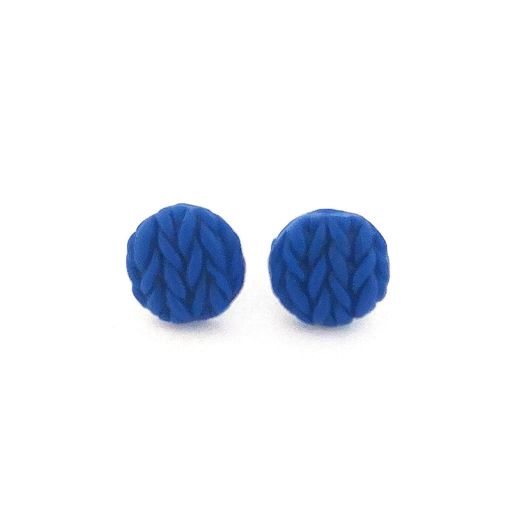Larkspur Knitted Button Earrings