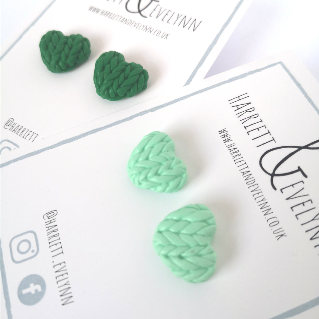 Green Knitted Hearts Stud Earring Set