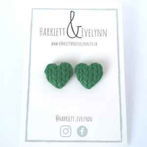 Laurel Knitted Hearts Stud Earrings