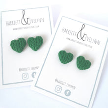 Load image into Gallery viewer, Laurel Knitted Hearts Stud Earrings