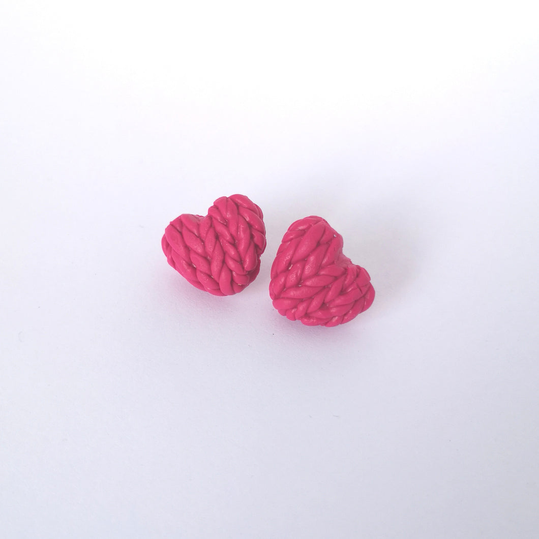 Peony Knitted Hearts Earrings