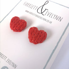 Load image into Gallery viewer, Poppy Knitted Hearts Earrings