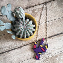 Load image into Gallery viewer, Purple Leopard Print Cactus Necklace