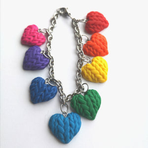 Knitted Hearts Charm Bracelet - single sided