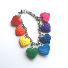 Load image into Gallery viewer, Knitted Hearts Charm Bracelet - single sided