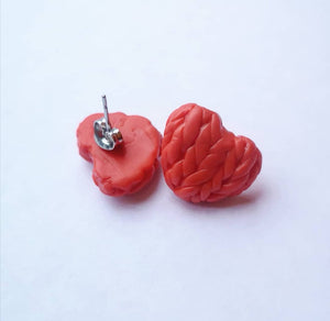Poppy Knitted Hearts Earrings