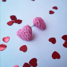 Load image into Gallery viewer, Honeysuckle Knitted Hearts Earrings