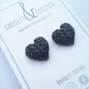 Cosmos Knitted Hearts Stud Earrings