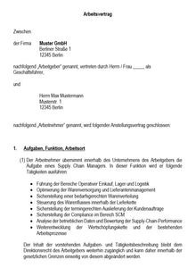 Arbeitsvertrag Supply Chain Manager Vorlage m/w/d
