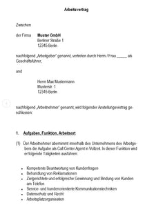 Arbeitsvertrag Call Center Agent Vorlage m/w/d - [tags]
