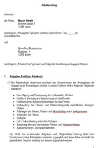 Arbeitsvertrag Fliesenleger Vorlage m/w/d - Simply Download