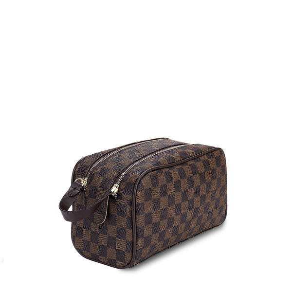 Luxury Checkered Cosmetic Bag Two-Zipper Toiletry Bag No LV Logo(5-7days arrive)