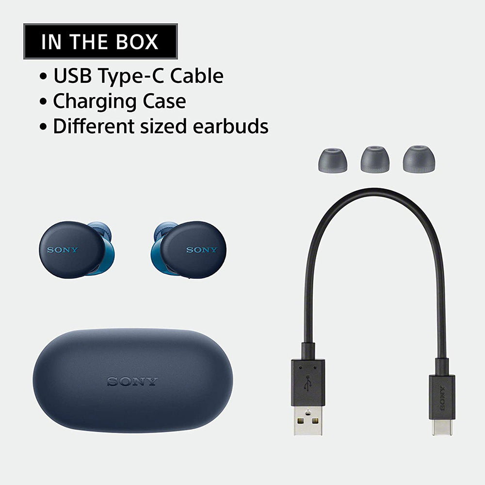 Sony WF-XB700 Truly Wireless Extra Bass Bluetooth Earbuds/Headphones, True Wireless Earbuds with Mic for Phone Calls, 18 Hours Battery Life, Quick Charge, BT Ver 5.0 & Alexa Voice Control (Blue)