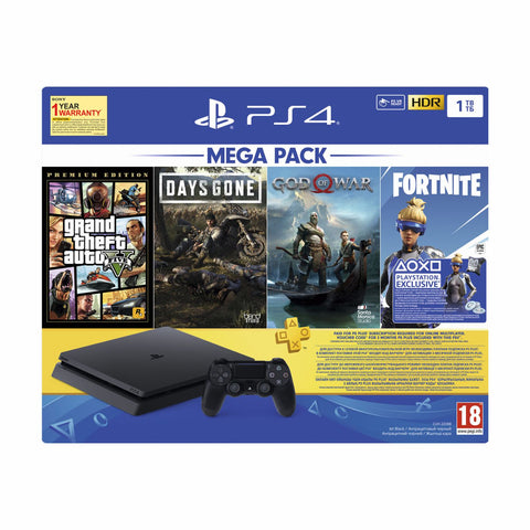 PS4 1TB Mega Pack GTA V /DG/GOW+ Fortnite DLC Vch+ 3M PS+