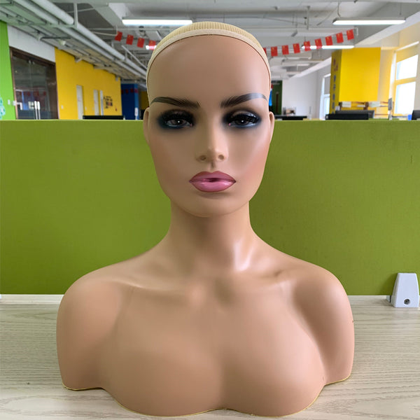 Realistic Female Brown Color Mannequin Head Stand with ...