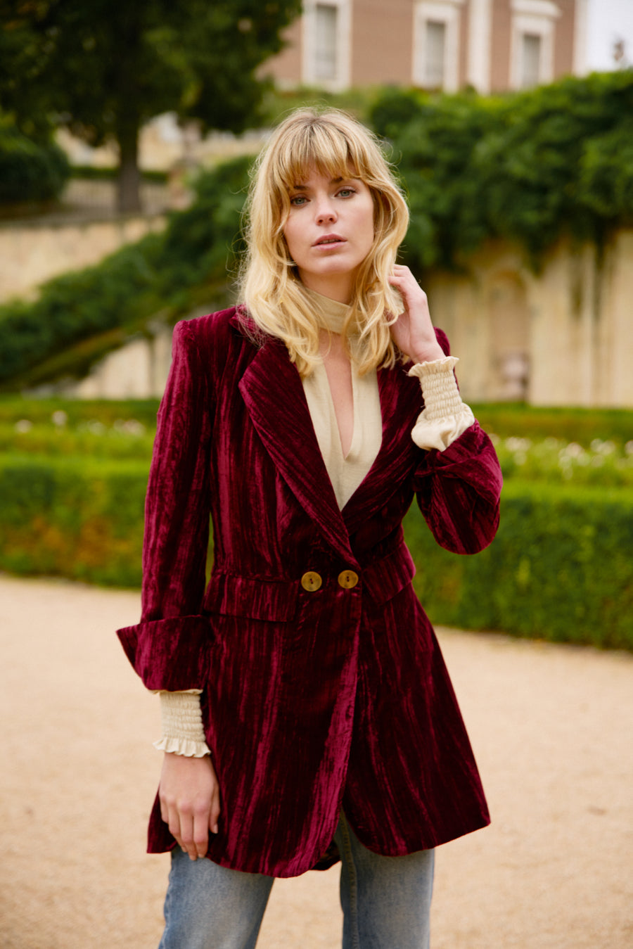<transcy>Celine Burgundy Jacket</transcy>