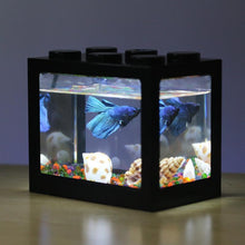 Laden Sie das Bild in den Galerie-Viewer, Buntes klares Mini-Aquarium-Aquarium-LED-Licht-Büro-Desktopverzierungs-Dekor