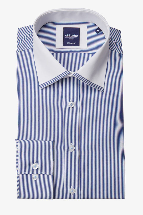 Abelard | Edge Trimmed Collar Stripe Business Shirt Blue Stripe 38