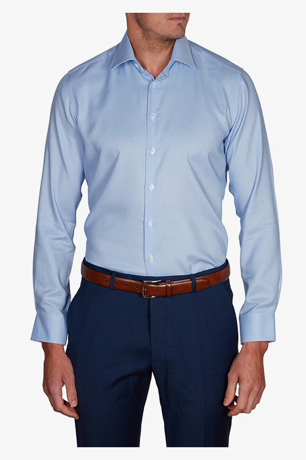 Abelard | Puppy-Tooth Twill Slim Fit Business Shirt Sky 38