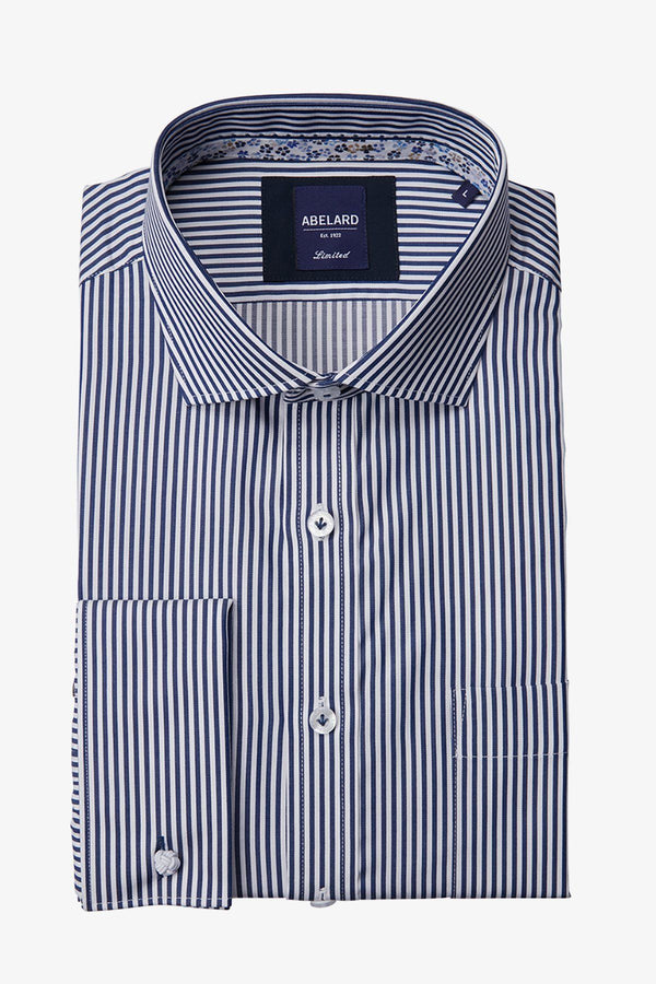 Abelard | Superfine Stripe Classic Fit Business Shirt Navy 40