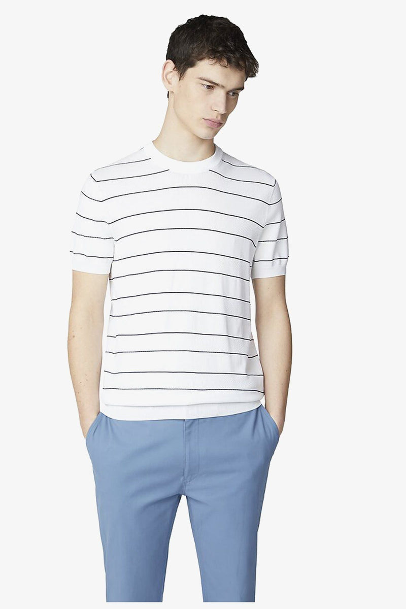 Ben Sherman | Crew Neck Stripe Knit Tee White S