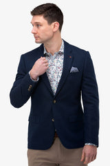 Brooksfield | Linen Blend Textured Blazer Navy 36