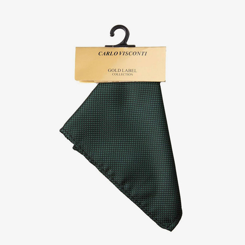 Carlo Visconti | Self pattern pocket square Bottle Green ALL