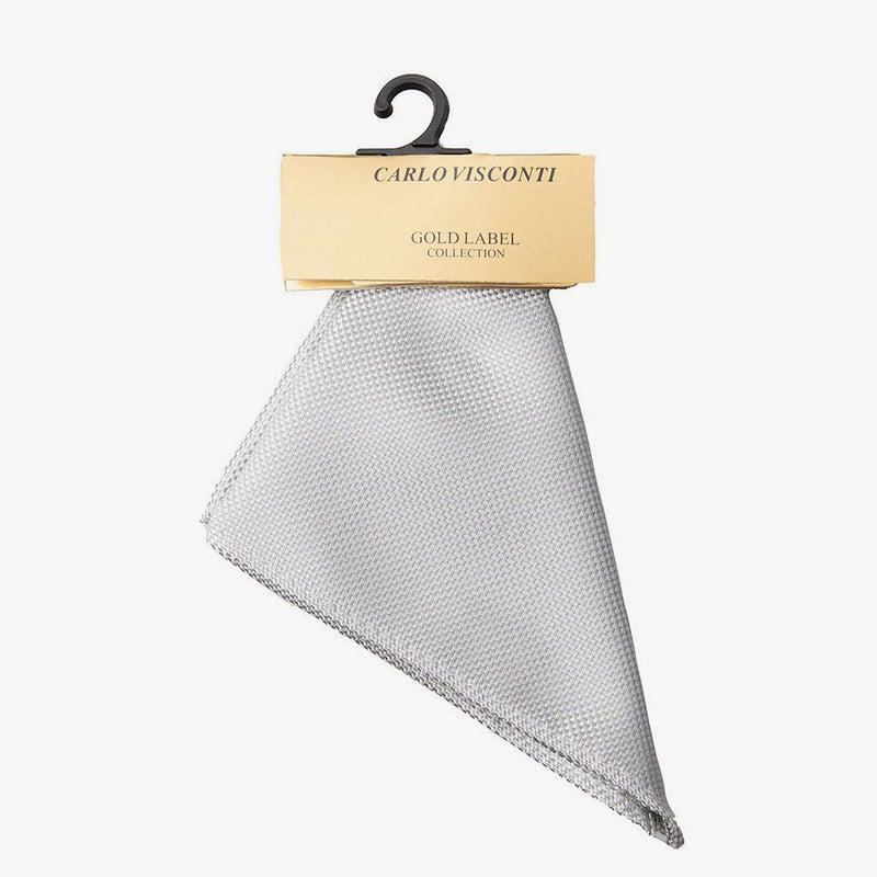 Carlo Visconti | Self pattern pocket square Platinum ALL