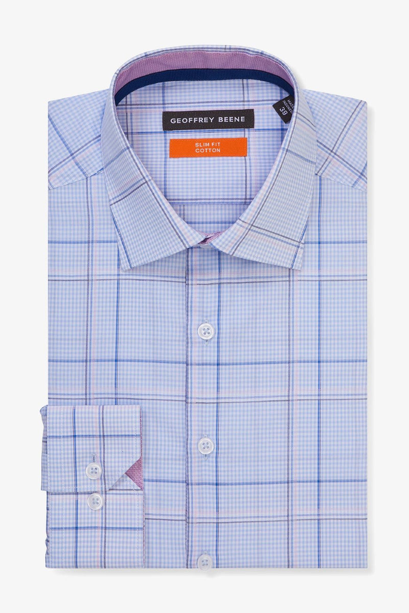 Geoffrey Beene | Business Shirt Blue Check 38