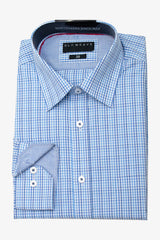 GLOWEAVE | CONTEMPORARY FIT BUSINESS SHIRT Blue Check 41