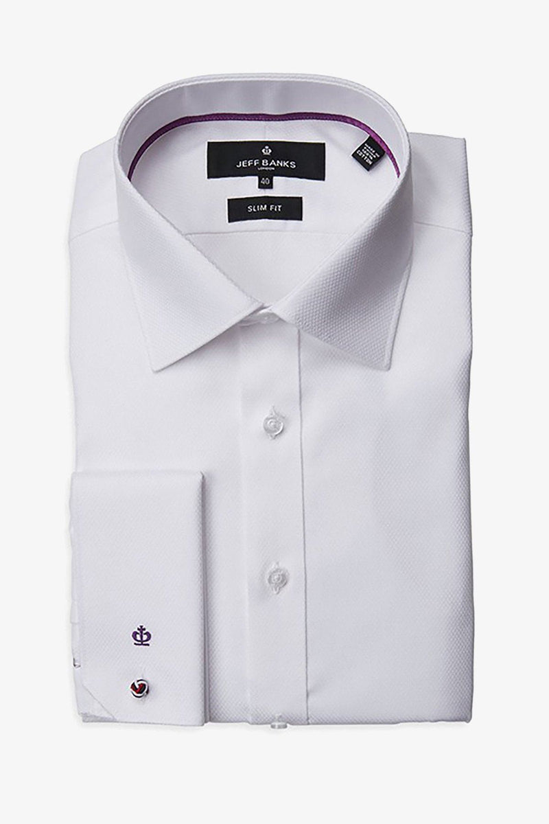 JEFF BANKS | Devon Dobby Business Shirt White 38