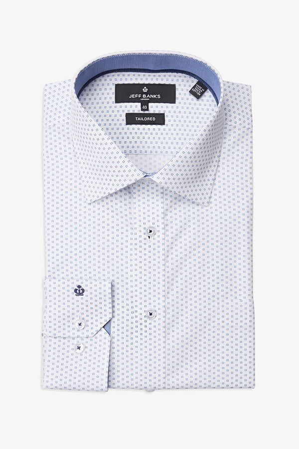 JEFF BANKS | Mini Bulls Eye Print Business Shirt Midnight 40