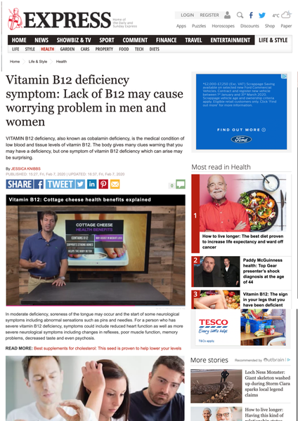 News this week: Vitamin B12 deficiency symptom: Lack of B12 may cause worrying problem in men and women