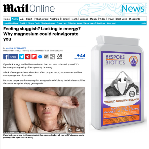 Daily Mail report on Chronic Lack of Magnesium affecting vitality and sleep