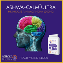 Laden Sie das Bild in den Galerie-Viewer, Ashwagandha 1300mg Ashwa-Calm Vegan Capsules. Indian Ginseng. Withania Somnifera 90 Caps