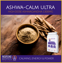 Load image into Gallery viewer, Ashwagandha 1300mg Ashwa-Calm Vegan Capsules. Indian Ginseng. Withania Somnifera 90 Caps