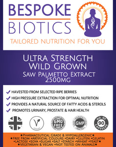 Wild Grown Saw Palmetto Extract 2500mg 90 Capsules Bespoke Biotics
