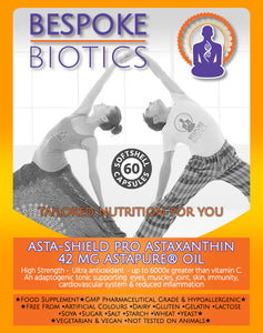 ASTA-SHIELD PRO-Astaxanthin 42mg AstaPure® Oil Natural Astaxanthin 60/120 Soft Gel Capsules High Grade