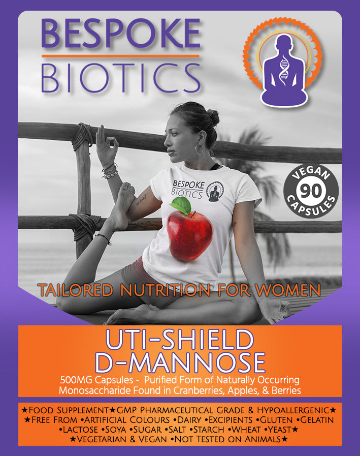 UTI-SHIELD D-Mannose PRO 90/180 Capsules | UK Manufactured to GMP Standards by Bespoke Biotics
