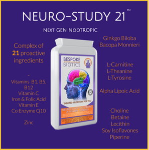 Neuro-Study Nootropic-21 Vitamin Complex 90 Caps 8hrs+ Memory Focus Legal Natural Brain Support inc Ginkgo, Choline, Betaine, Carnitine, Lecithin, Vitamins and Minerals