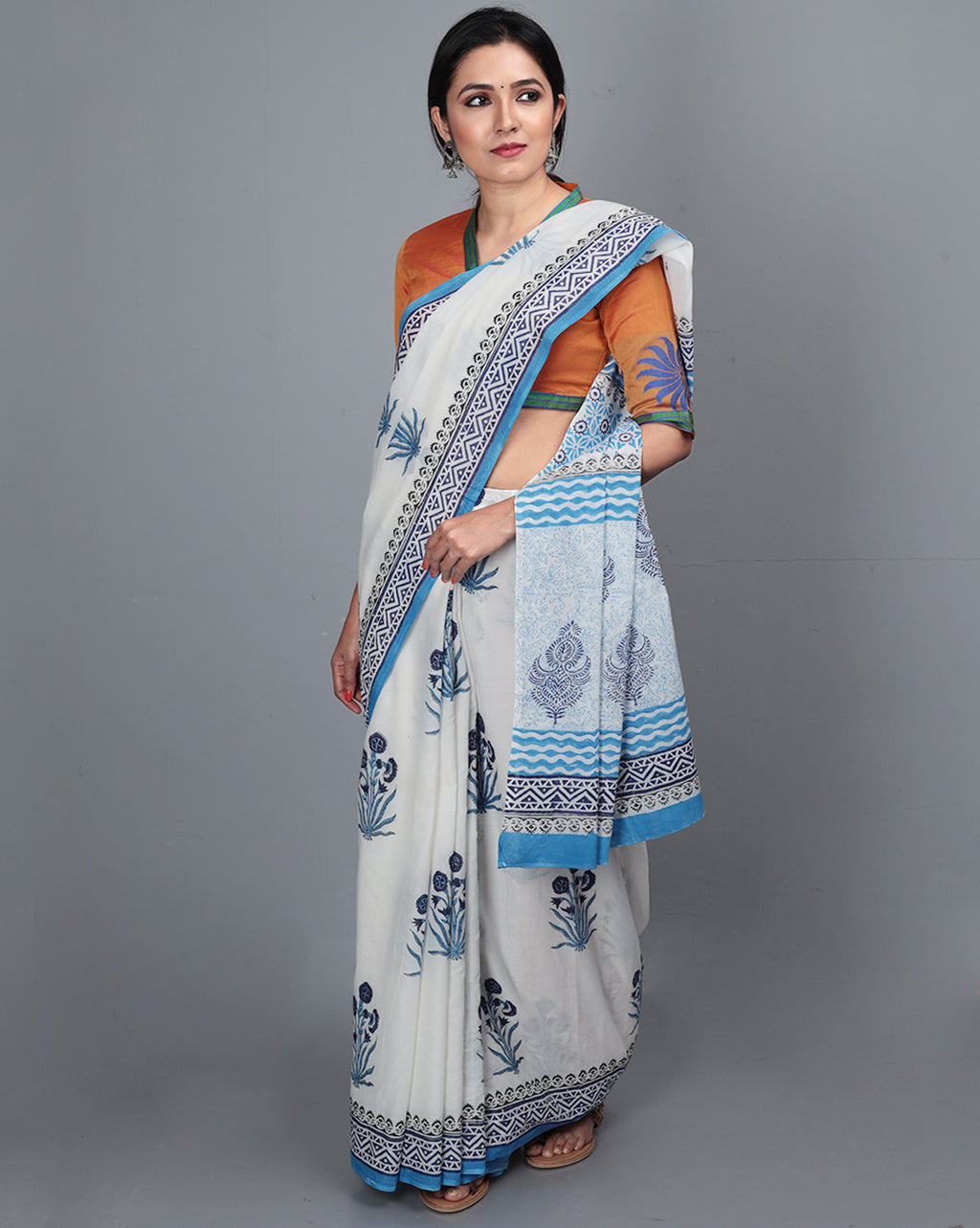 Mul Cotton Saree with Block Print - 15