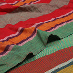 Bihar Gamcha Cotton Saree - Red and Green Checks