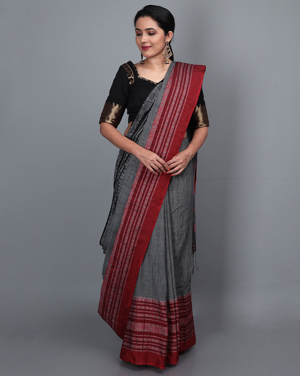 Phulia Cotton Saree with Thick and Thin Floral Border - Charcoal Grey/Red & Black