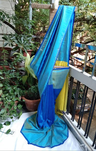 Mangalagiri Silk by Cotton Saree - Blue and Yellow