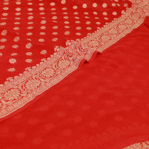 Silk Georgette Banarasi Saree - Red