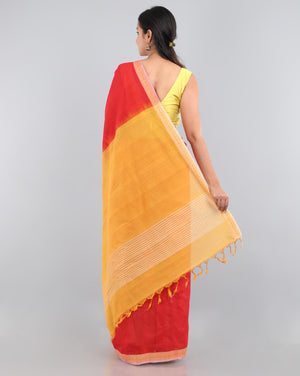 Flower Power Saree - Vermilion