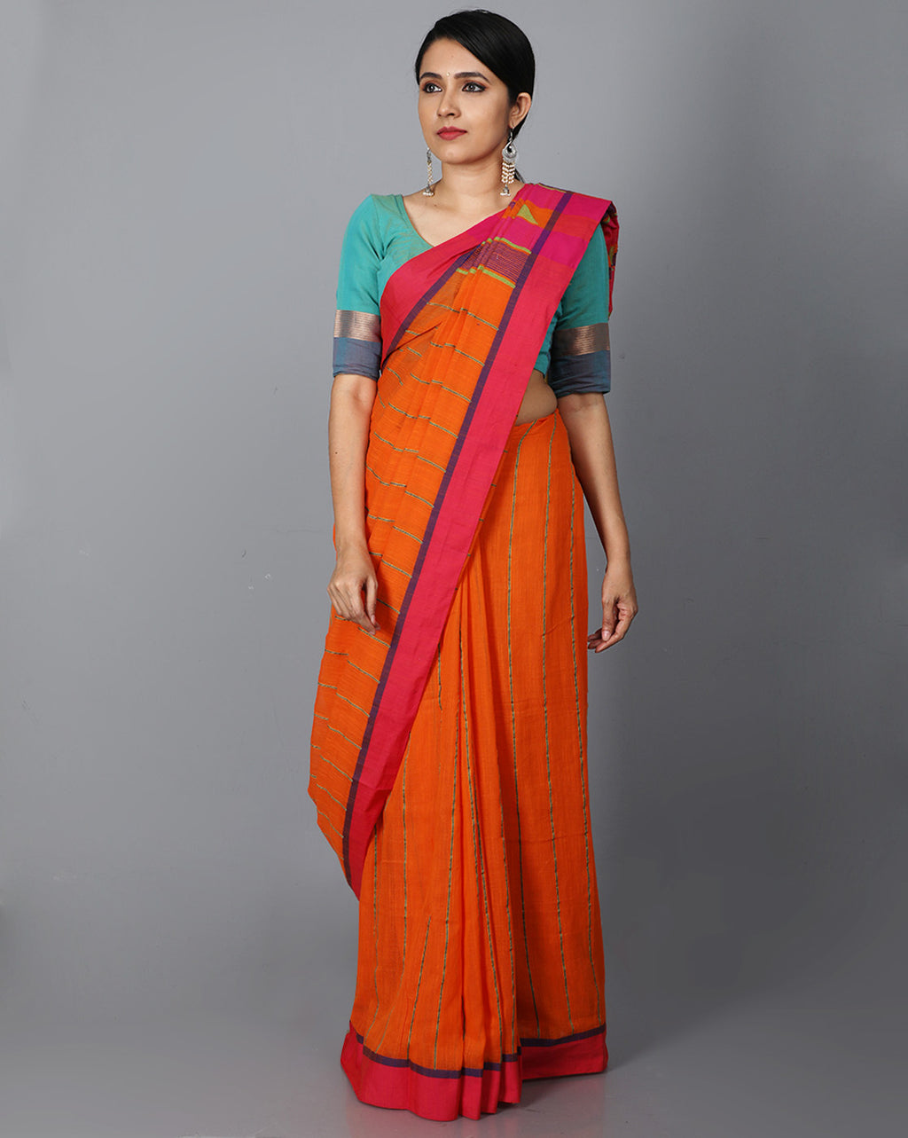 Phulia Cotton with Vertical Stripes Thread Embroidery - Orange
